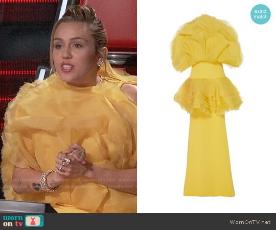Christian Siriano Unflower Tiered Flounce Gown worn by Miley Cyrus  on The Voice