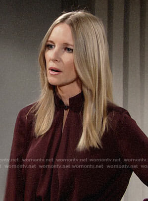 Christine's burgundy draped keyhole blouse on The Young and the Restless