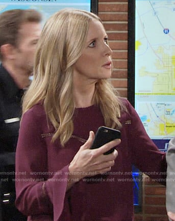 Christine's purple bell-sleeve top on The Young and the Restless