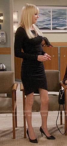Christy's black long sleeved dress on Mom
