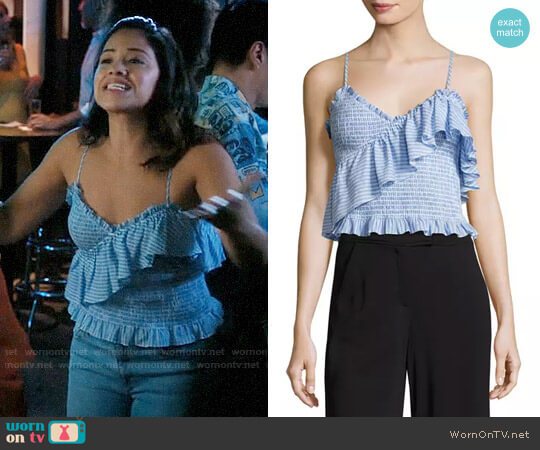 Cinq a Sept Mara Smocked Top worn by Gina Rodriguez on Jane the Virgin