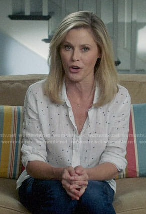 Claire's white star print shirt on Modern Family