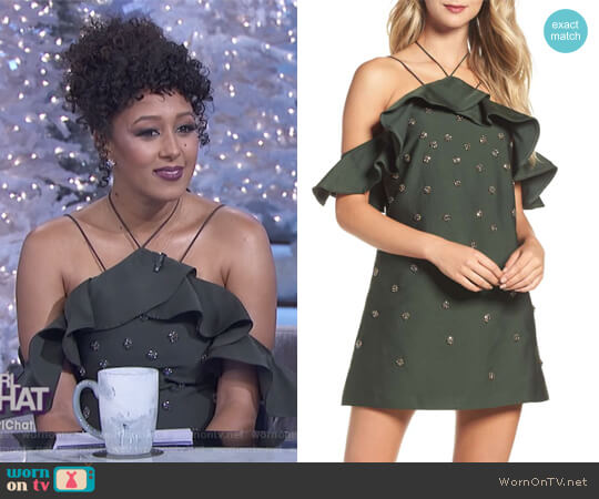 Assemble Embellished Shift Dress by C/MEO Collective worn by Tamera Mowry on The Real