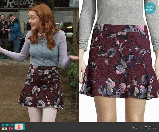 Cosette Floral-Print Mini Skirt worn by Lindy Booth on The Librarians