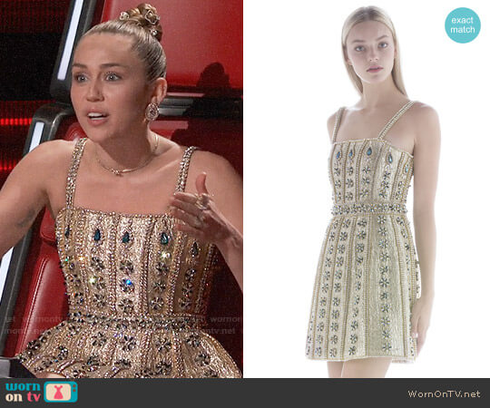 Cristahlea Crystal Embellished Corset Dress worn by Miley Cyrus on The Voice