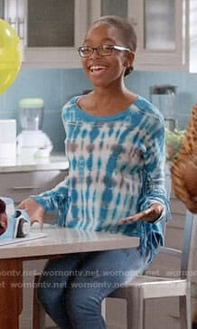 Diane's blue tie dye fringed sweater on Black-ish