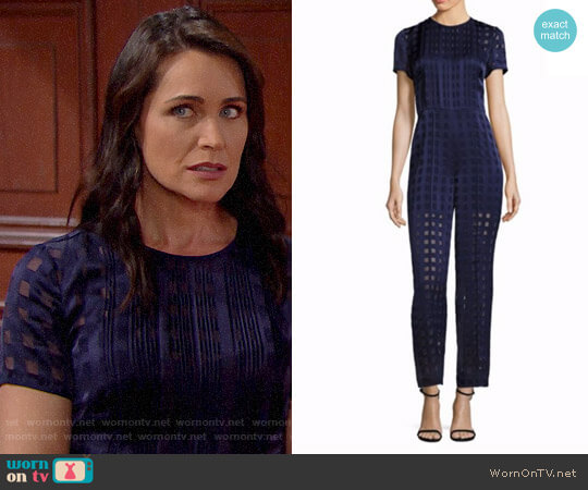 Diane von Furstenberg Cropped Flared Jumpsuit worn by Rena Sofer on The Bold & the Beautiful
