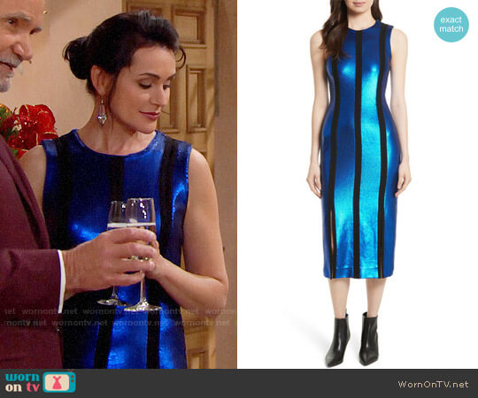 Diane von Furstenberg Sequin Panel Midi Dress worn by Rena Sofer on The Bold & the Beautiful