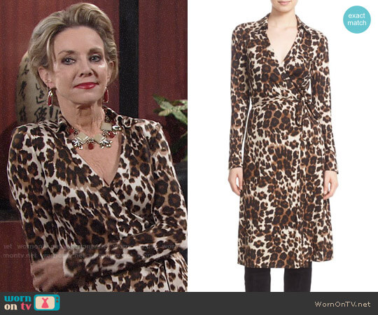 Diane von Furstenberg 'Cybil' Leopard Print Silk Wrap Dress worn by Gloria Abbott Bardwell (Judith Chapman) on The Young & the Restless