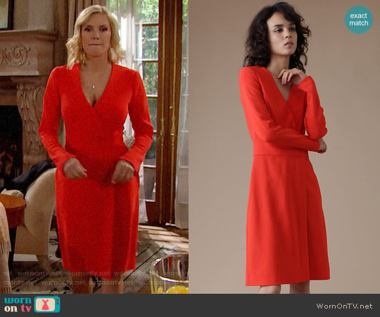 Diane von Furstenberg Long Sleeve A-Line Wrap Dress worn by Brooke Logan (Katherine Kelly Lang) on The Bold & the Beautiful