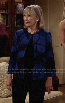 Dina's blue and black print jacket on The Young and the Restless
