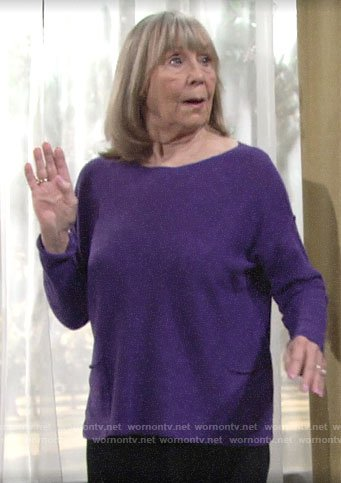 Dina's purple top with front pockets on The Young and the Restless