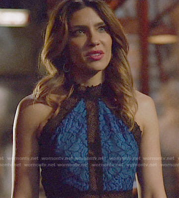 Dina's blue lace high neck dress on Arrow