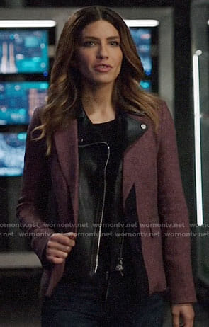 Dinah's purple blazer with leather collar on Arrow