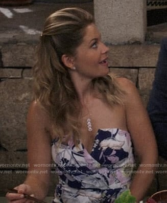 DJ's floral strapless dress on Fuller House