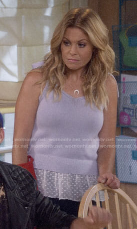 DJ's purple layered tie-shoulder top on Fuller House