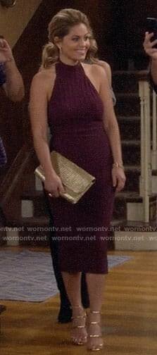 DJ's purple halter neck midi dress on Fuller House