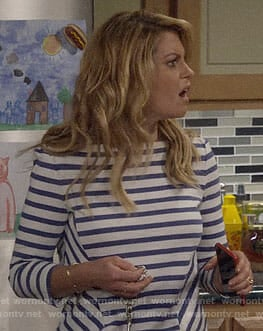 DJ's blue striped top with lace-up shoulders on Fuller House