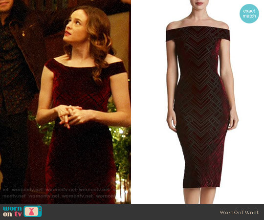 Dress the Population Eden Geo Print Velvet Off the Shoulder Dress worn by Caitlin Snow (Danielle Panabaker) on The Flash