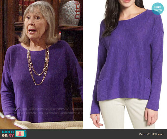 Eileen Fisher Organic Linen & Cotton Knit Boxy Top worn by Marla Adams on The Young & the Restless