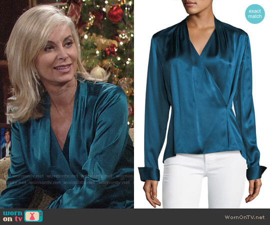 Elie Tahari Shelly Long-Sleeve Surplice Silk Satin Blouse worn by Eileen Davidson on The Young & the Restless