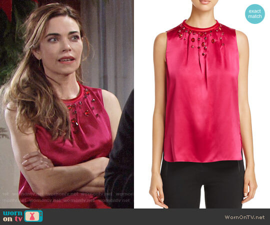 Elie Tahari Betsey Embellished Blouse in Wild Currant worn by Victoria Newman (Amelia Heinle) on The Young & the Restless