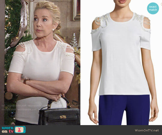 Elie Tahari Noa Cold Shoulder Sweater worn by Melody Thomas-Scott on The Young & the Restless
