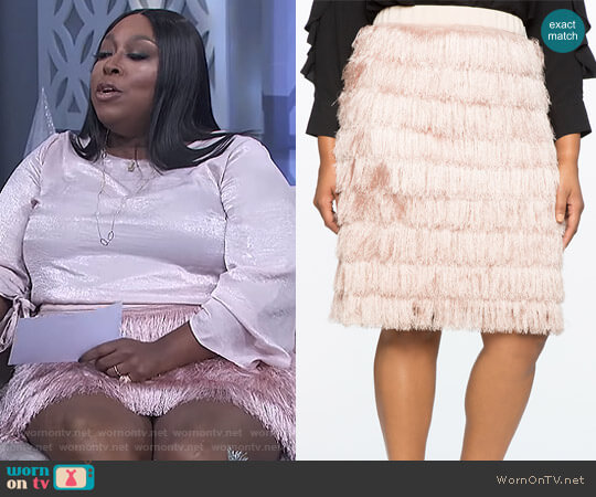 Fringe Pencil Skirt by Eloquii worn by Loni Love  on The Real