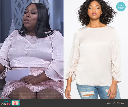 Ruched Sleeve Top by Eloquii worn by Loni Love on The Real