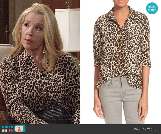 Equipment  Signature Leopard Print Shirt worn by Nikki Reed Newman (Melody Thomas-Scott) on The Young & the Restless