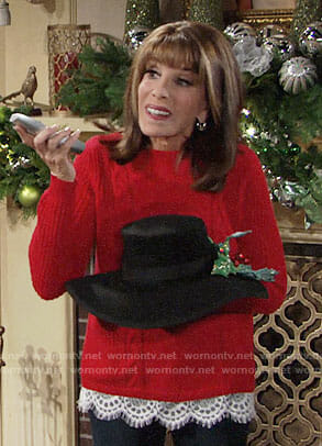 Esther's red lace-trim sweater on The Young and the Restless