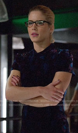 Felicity's short sleeved velvet dress on Arrow