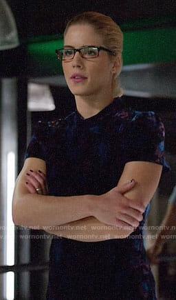 Felicity's short sleeved velvet dress on Arrow