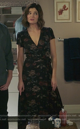 Heather's black floral print wrap dress on Life in Pieces