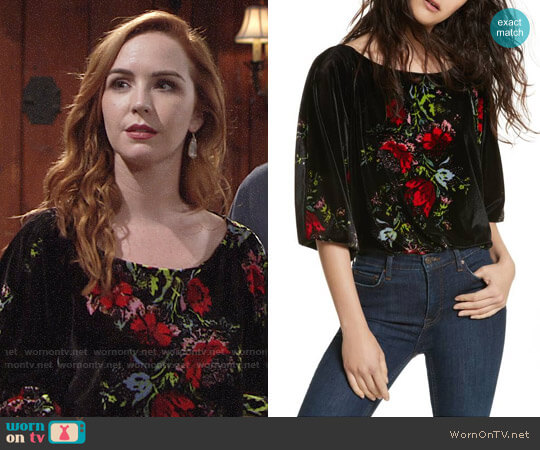 Free People Babe Slouchy Velvet Bodysuit worn by Camryn Grimes on The Young & the Restless