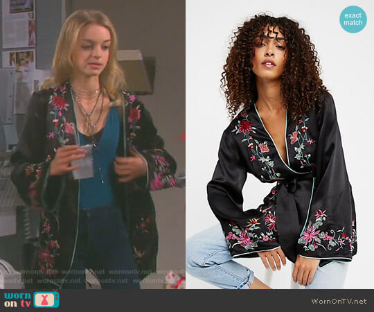 Embroidered Satin Blazer by Free People worn by Claire Brady (Olivia Keegan) on Days of our Lives
