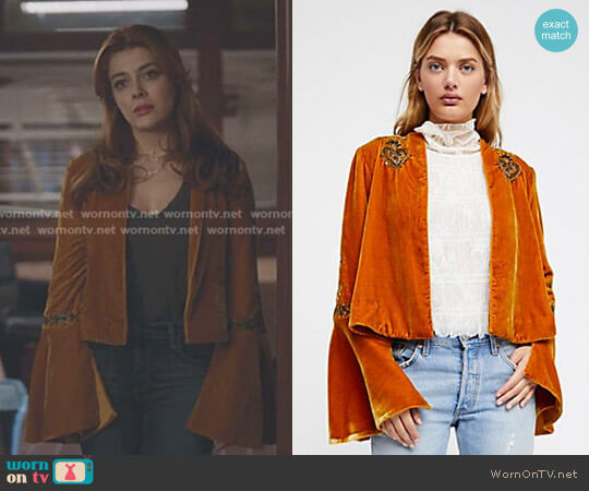Sacred Heart Jacket by Free People worn by Elena Satine on The Gifted