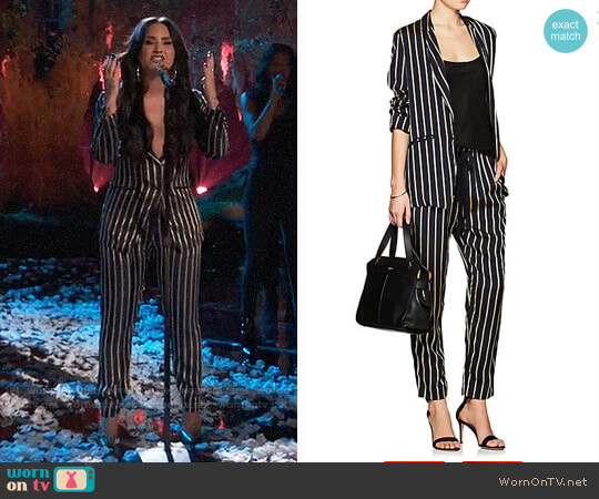 Giada Forte Striped Twill One-Button Blazer and Pants worn by Demi Lovato on The Voice