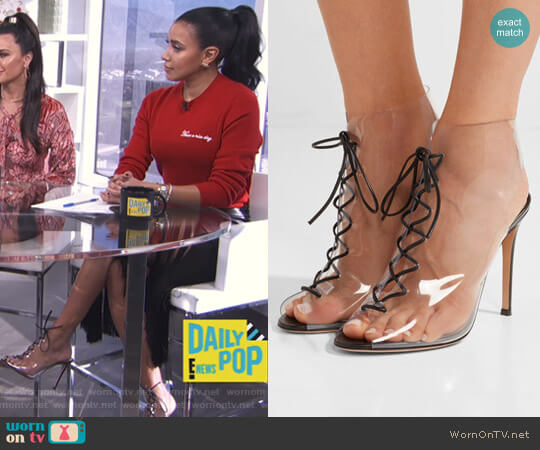 Helmut Plexi ankle boots by Gianvito Rossi worn by Julissa Bermudez on E! News