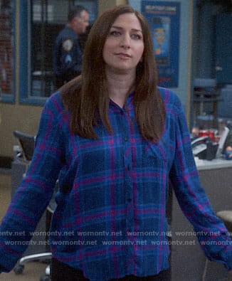 Gina's blue and pink plaid shirt on Brooklyn Nine-Nine