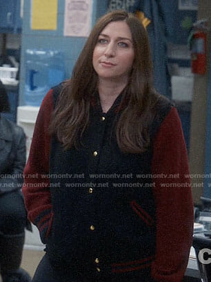 Gina's navy bomber jacket with red sleeves on Brooklyn Nine-Nine