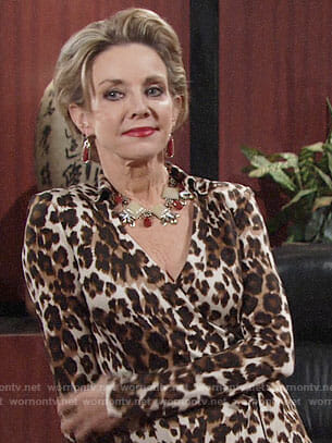 Gloria's leopard print wrap dress on The Young and the Restless