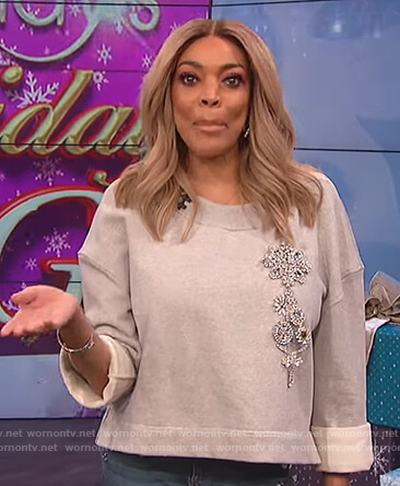 Wendy's gray embellished sweatshirt on The Wendy Williams Show