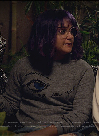 Gert's gray embroidered eye sweatshirt by Marvel's Runaways
