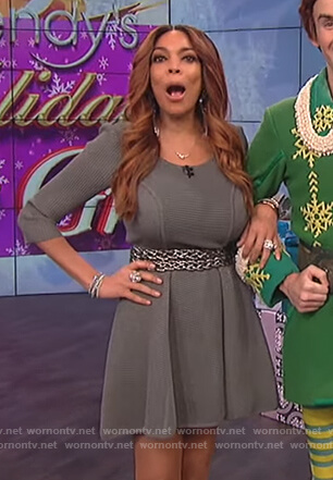 Wendy's gray ribbed fit and flare dress on The Wendy Williams Show
