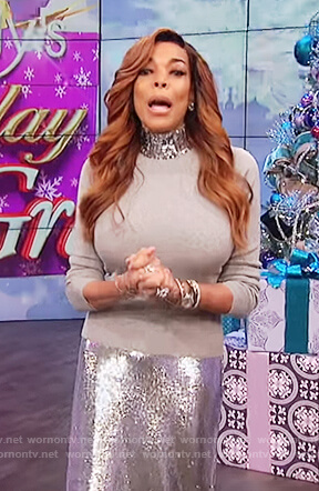 Wendy's gray sequin embellished turtleneck sweater on The Wendy Williams Show