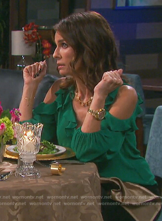 Hope's green cold shoulder ruffle top on Days of our Lives