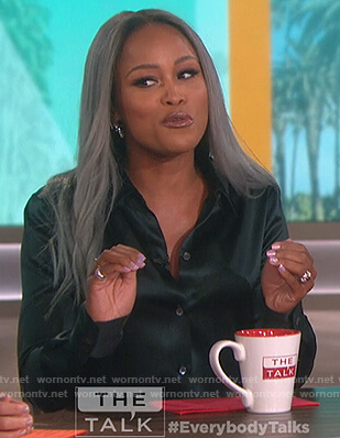 Eve's green satin shirt on The Talk