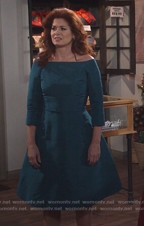 Grace's green off shoulder belted dress on Will and Grace