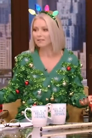 Kelly's green ornament christmas sweater on Live with Kelly and Ryan